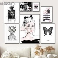 fashion wall art canvas painting sexy woman print butterfly poster high heels perfume posters modern wall pictures home decor