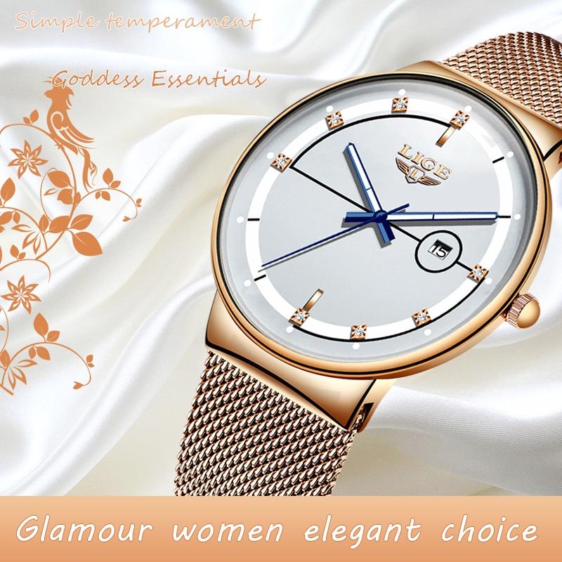 Women Watches LIGE Top Brand Luxury Ladies Mesh Belt Ultra-thin Watch Stainless Steel Waterproof Clock Quartz Watch Reloj Mujer enlarge