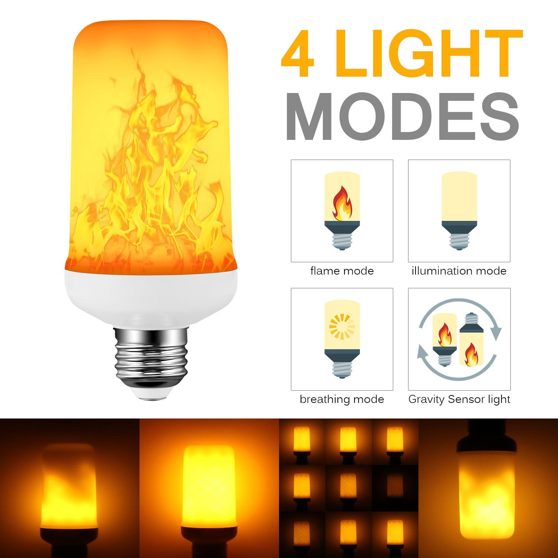 27 lâmpada de chama led 4 modos efeito de chama azul lâmpada 85-265 v cintilação emulação luz de fogo com sensor de gravidade decoração lâmpada