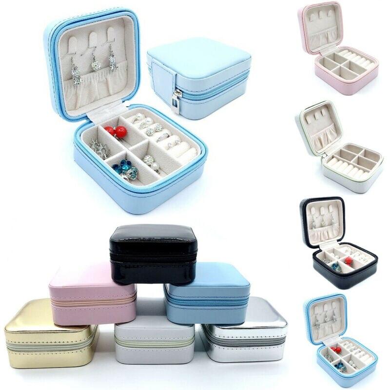4 Colors Portable Jewelry Box Zipper Leather Storage Boxes Jewelry Organizer Display Travel Jewelry Case