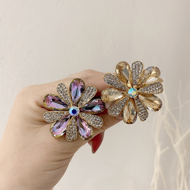 Colorful Crystal Flower Elastic Hair Bands TIe For Women Rubber Band Accessories Girls Ties  Gum for
