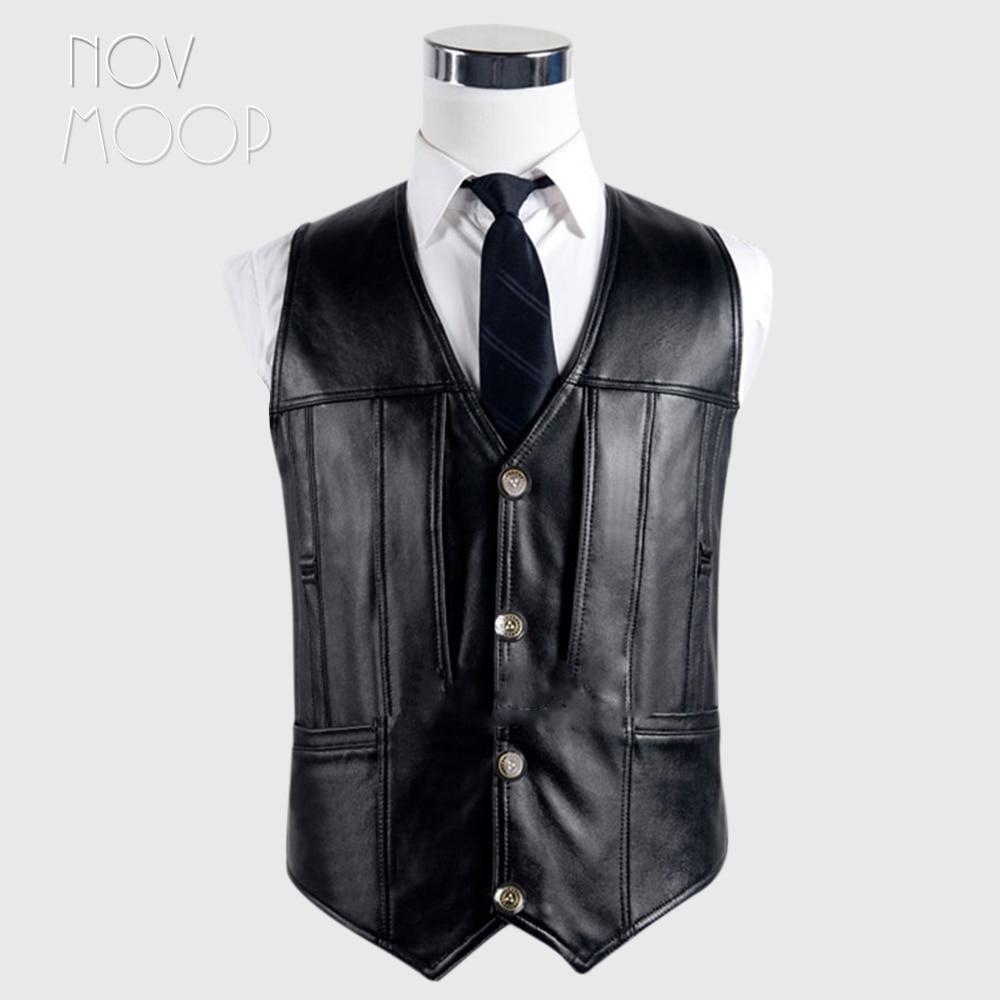 Black solid genuine leather vest 100% lambskin leather jacket men waistcoat business coat chaleco hombre colete LT744 Free ship
