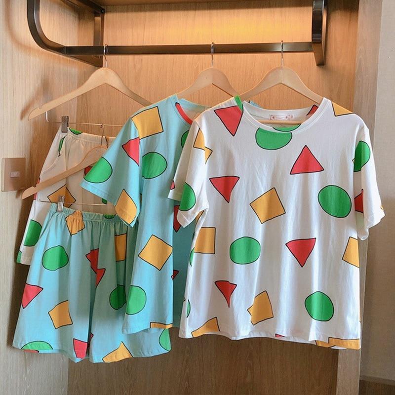 Pijama Sin Chan Man Pajama Sinchan Cotton Summer Short Sets Japanese Pajamas for Couples Man and Wom