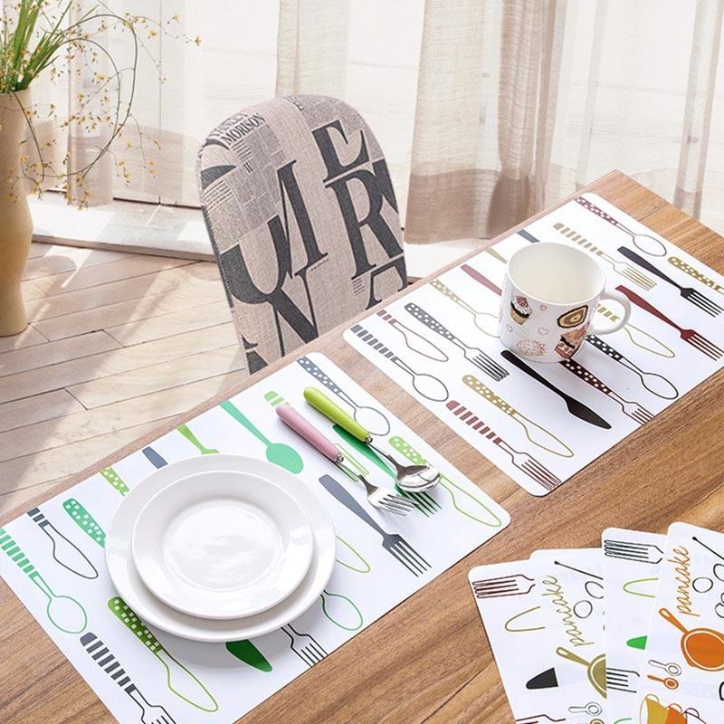Manteles de estera de mesa de PVC niños cocina vajilla de dibujos...