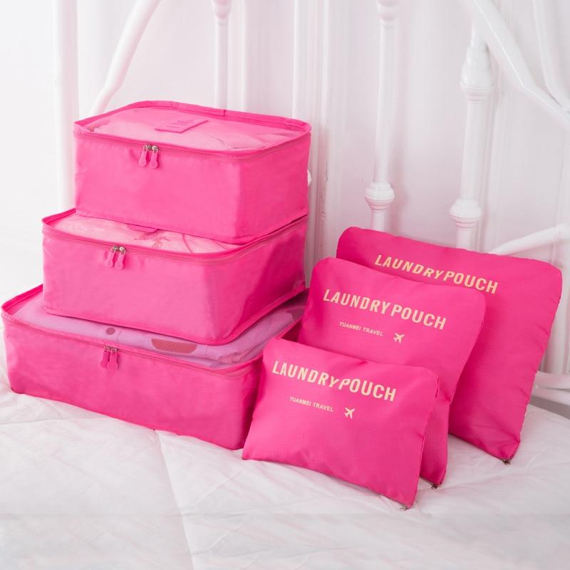 6 PCS Travel Storage Bag Set for Clothes Tidy Organizer Wardrobe Suitcase Pouch Travel Organizer Bag