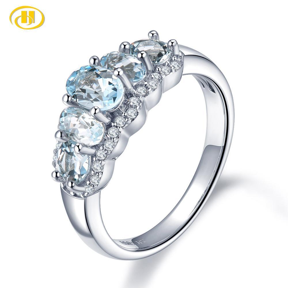 Hutang-خاتم زواج من الزبرجد الطبيعي للنساء ، 925 فضة استرلينية ، أحجار كريمة زرقاء ، مجوهرات راقية من الزركونيا المكعبة ، جديد