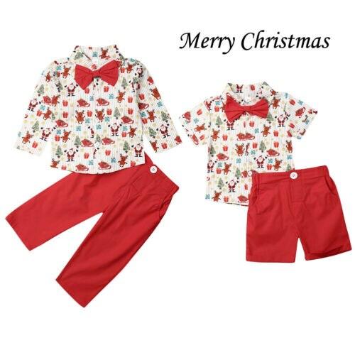 Niños bebé niño traje boda corbatín Caballero Navidad camiseta + Pantalones cortos conjuntos de manga larga + Pantalones conjunto de ropa 1-6Y