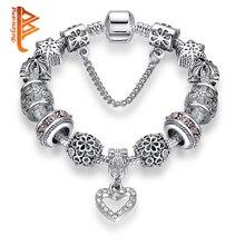Haute qualité coeur breloques perles ajustement Original couleur argent Bracelet perles de cristal Bracelets et Bracelets pour les femmes bijoux de mode
