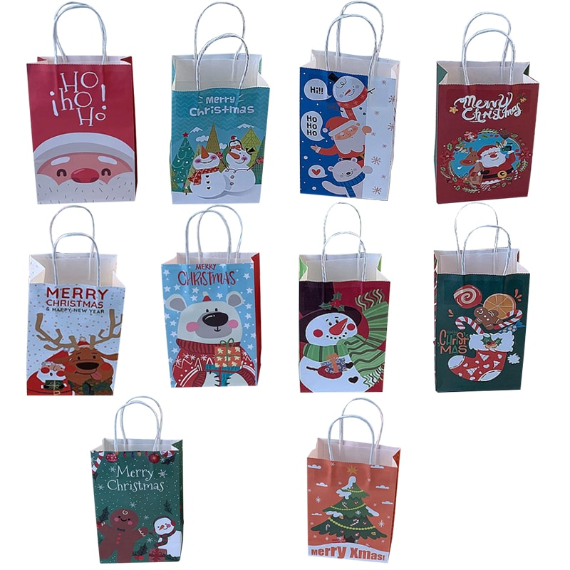 10 pieces/each piece of multifunctional Christmas paper bag S/M/L holiday gift bag with handle Chris