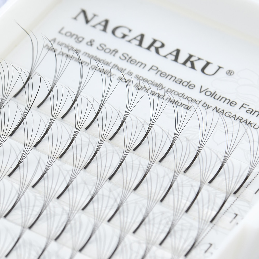 NAGARAKU-extensiones de pestañas, 12 líneas 3D-6D, plumas voluminosas prefabricadas, rusas, voluminosas, negras, visón falso, prémium