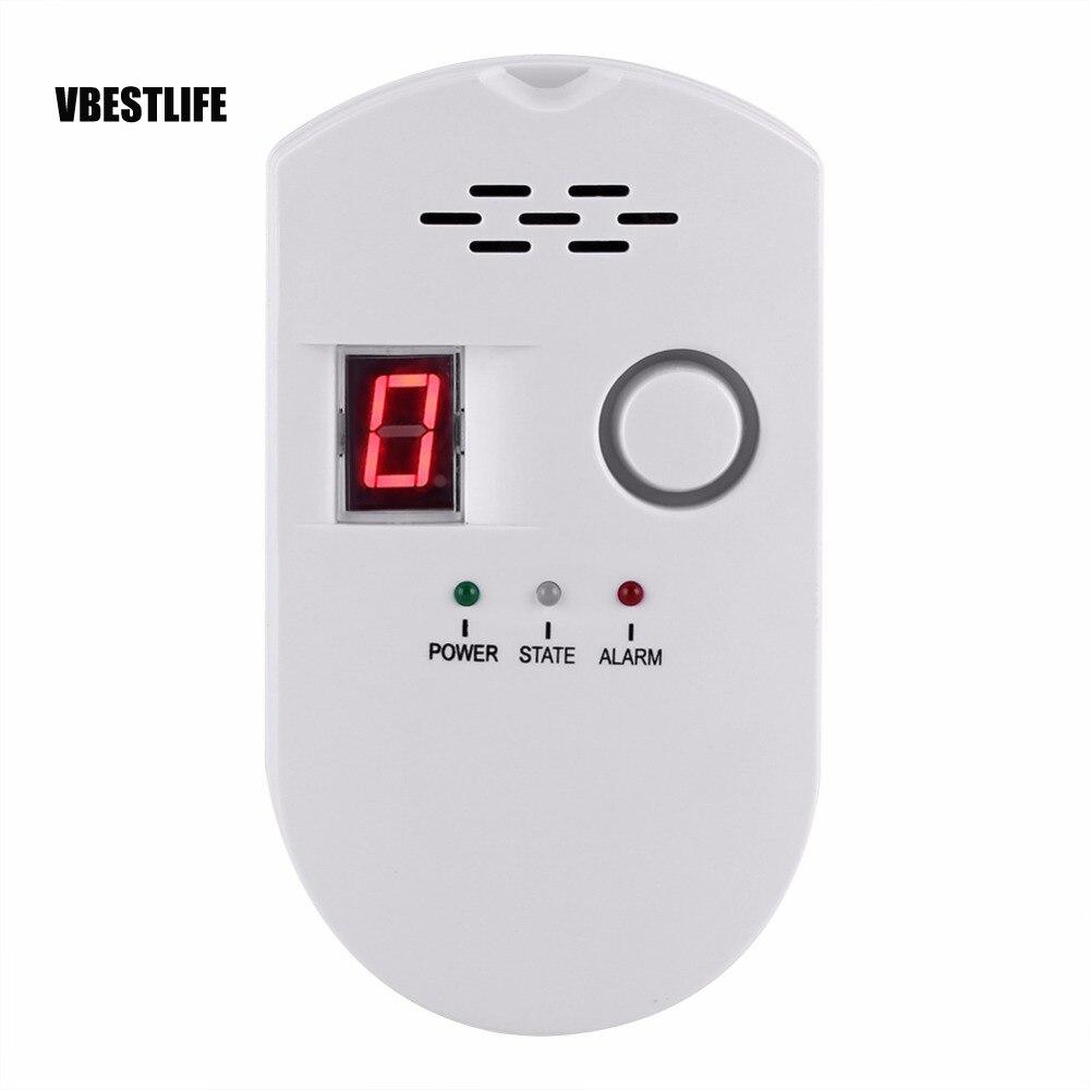 Alarma de Detector de Gas de 110-240 V, pantalla LED Digital inalámbrica, Detector de Gas Combustible de fuga Natural para sistema de alarma de casa