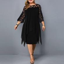 Dress Elegant Women Perspective Mesh Chiffon Hollow Out O-Neck Double Plus Size 5XL Dress Party Dresses платье женское @45