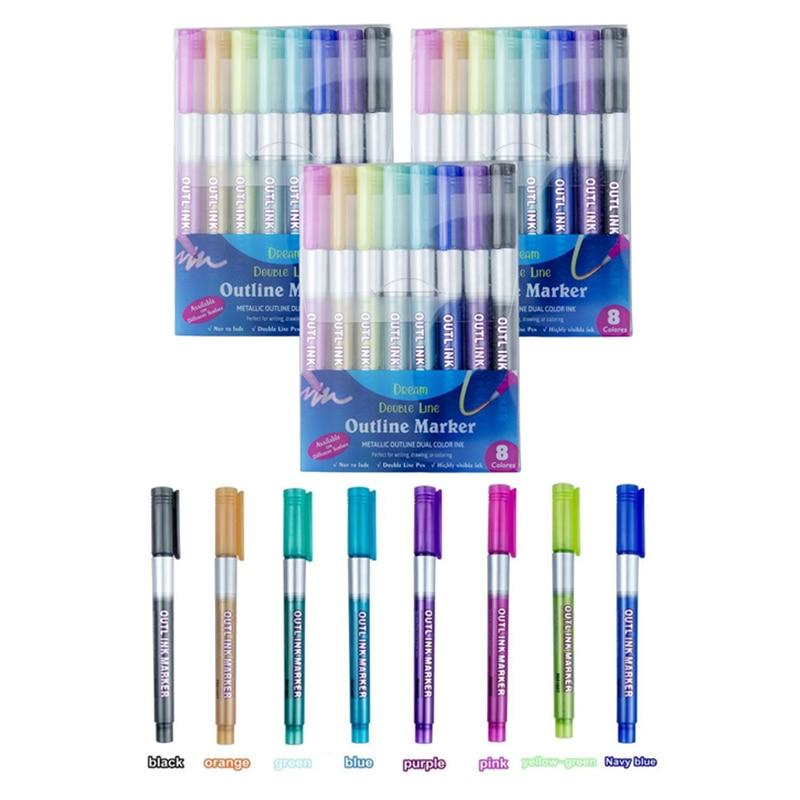 8/12 cores metálico linhas duplas marcadores de arte para fora linha caneta papelaria arte desenho canetas para caligrafia rotulação scrapbooking