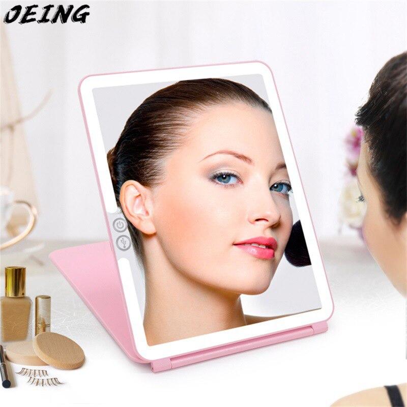 السفر المحمولة 10.2 بوصة مربع الوجه للطي LED مرآة لمستحضرات التجميل صغيرة مع المدمج في 3x 5x عدسة مكبرة وشحن USB