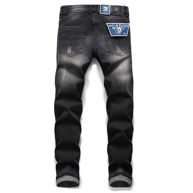 Мужские прямые зауженные брюки-трубы с потертостями, повседневные Модные микро-эластичные трендовые Джинсы Джокер большого размера со сре...