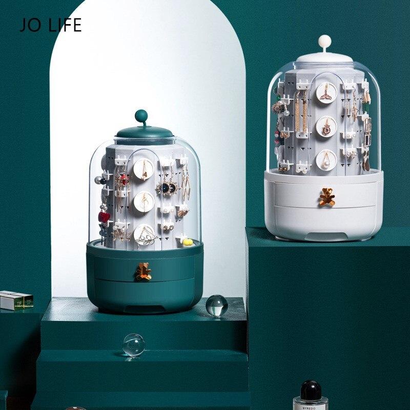 JO LIFE-صندوق تخزين مجوهرات فاخر ، مع أقراط ، حامل أربطة ، علبة زينة سحرية مخفية