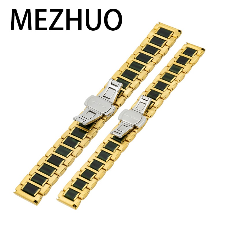 MEZHUO المصنع مباشرة بيع الظلام الأخضر اليشم حزام الفولاذ المقاوم للصدأ حزام ساعة اليد مناسبة ل 14 20 مللي متر