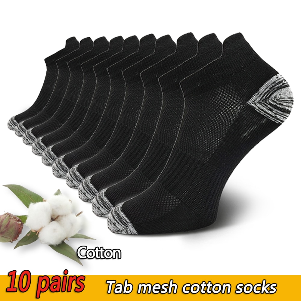 10 Pairs Mens Ankle Socks Athletic Cushioned Cotton Sports Socks Breathable Low Cut Tab With Arch Support Mesh Casual Short Sock