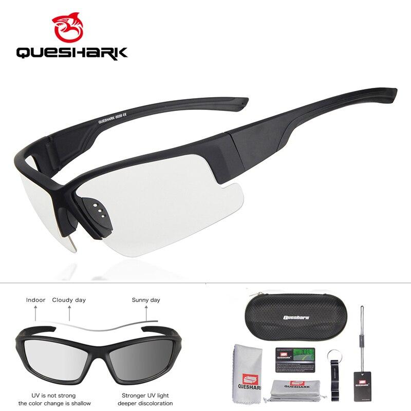 Gafas de sol fotocrómicas Con montura negra mate de QUESHARK, protección Uv para conducir, lentes de decoloración para ciclismo, gafas HD para bicicleta