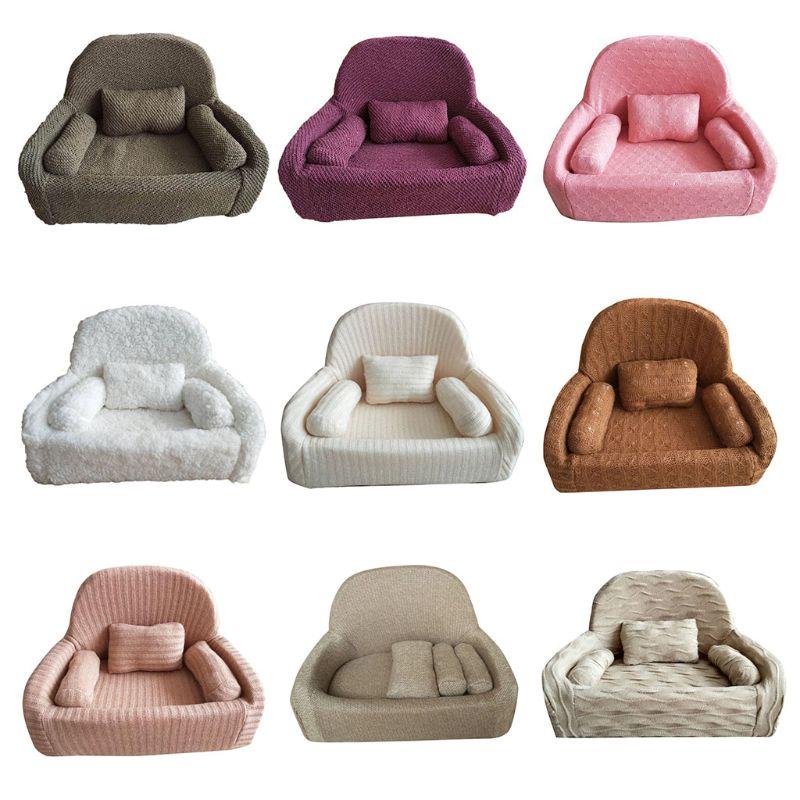 4Pcs Newborn Photography Props Baby Posing Sofa Pillow Set Infant Photo Chair