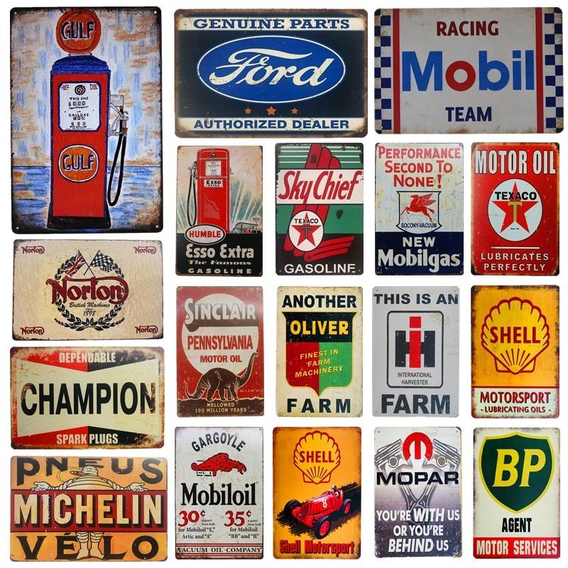 Винтажный металлический жестяной знак моторного Масла Декоративная табличка для гаража АЗС домашний декор стен