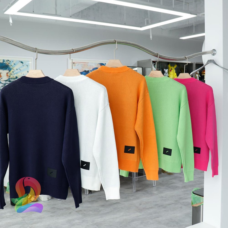 Oversize We11done Knitted Sweater Men's Women's Vintage Round Neck Jacquard Logo Sweater Welldone Fashion Pullover enlarge