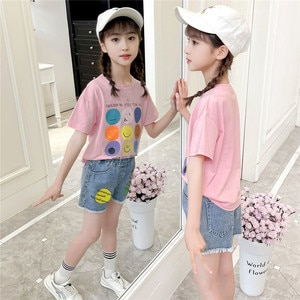 2021 Summer Teenager kids baby girl Clothes canday Shirt + Shorts jeans hot pants 3 4 5 6 7 8 9 10 11 12 13 year