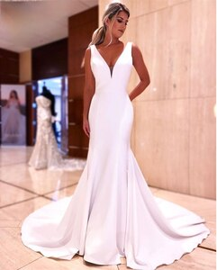 Elegant Simple Satin Mermaid Wedding Dresses Backless V-Neck Sleeveless Satin Buttons  Bridal Gowns vestido de noiva Custom Made