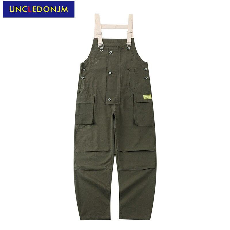 UNCLEDONJM-بذلة عتيقة للرجال ، ملابس الشارع ، سراويل البضائع ، ملابس الشارع ، فضفاضة ، بذلة من قطعة واحدة ، مريلة ، U6025