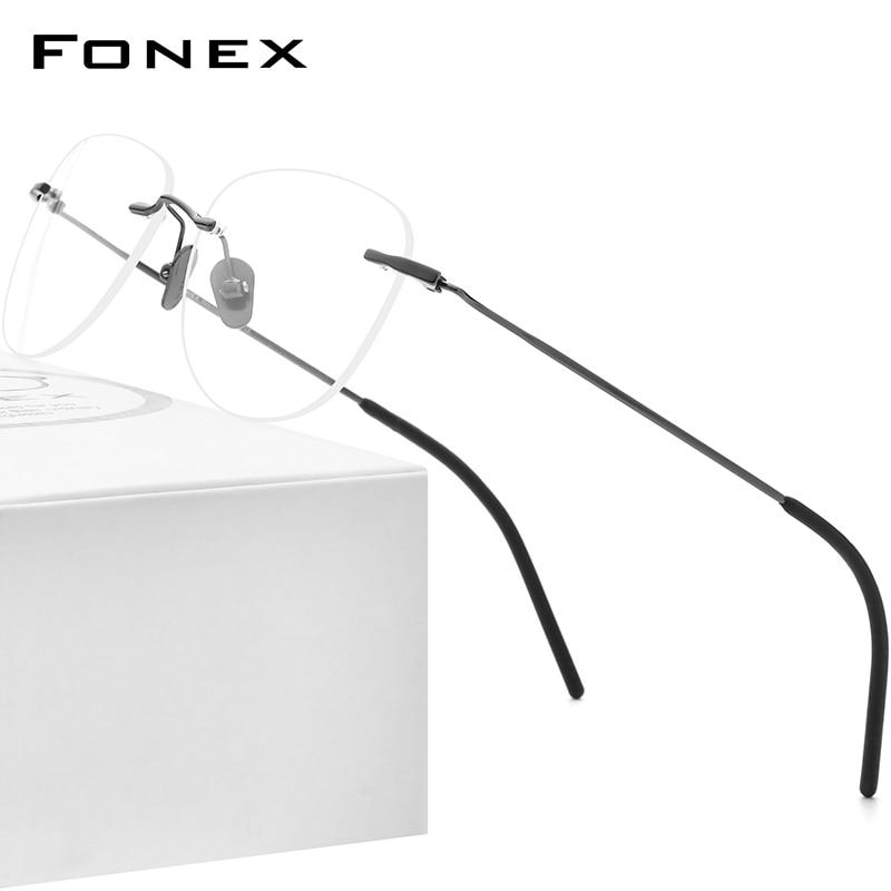 FONEX التيتانيوم النظارات الإطار الرجال 2021 جديد بدون إطار وصفة طبية مربع النظارات النساء فرملس قصر النظر النظارات البصرية 855
