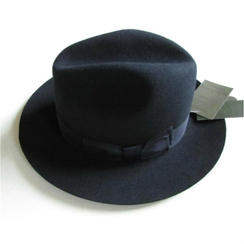 2021 Crushhat 100% Wool From Australian Fashion Unisex Black Homburg Panama Jazz Hat Men Panama  Black Hats B-1540