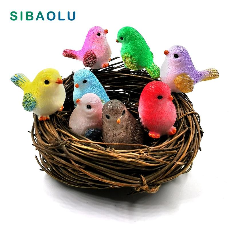8Pcs Resin Little Parrot Bird Nest Figurine Animal Model Home Decor Miniature Fairy Garden Bonsai Decoration Accessories Modern