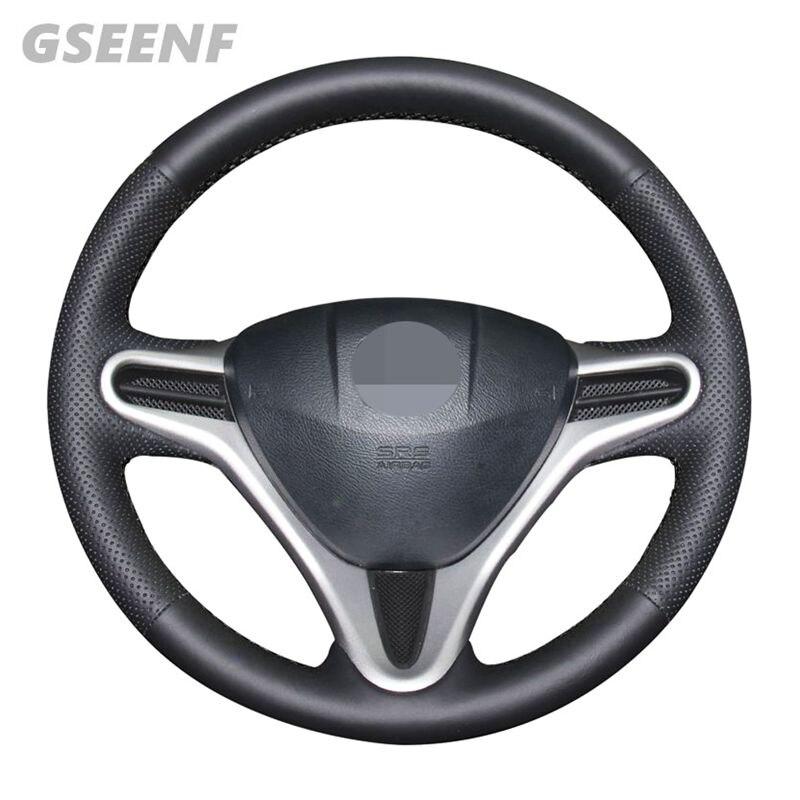 Protector para volante de coche para Honda Fit 2009-2013 azz 2009-2013 City 2009-2013 Insight 2010 cuero negro cosido a mano