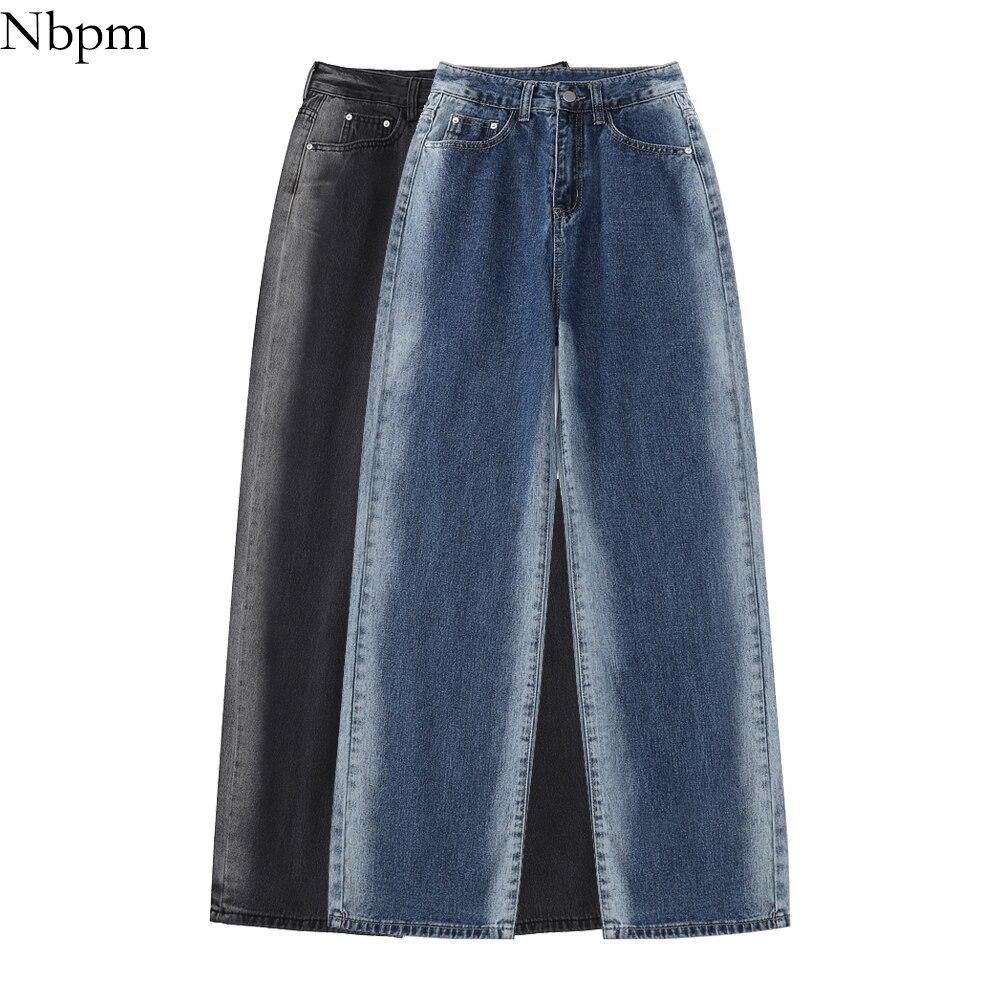 Nbpm New 2021 Fashion Washed Tie Dye Baggy Jeans Woman High Waist Girls Streetwear Denim Trousers Wi
