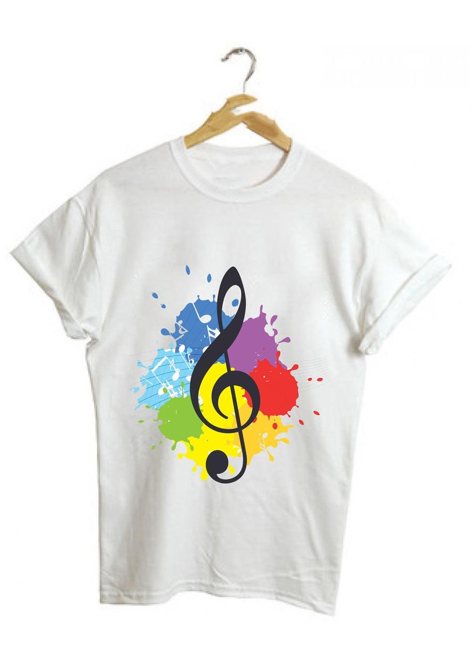 Notas de música agudos clef arte pintura moda unissex masculino feminino branco camisa t 48 frete grátis topos camiseta