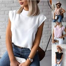 Women Blouse New 2020 Casual Solid Korean Shirt Elegant Slim Stand Collar Short Sleeve Women's Tops Blusa Mujer Female Shein