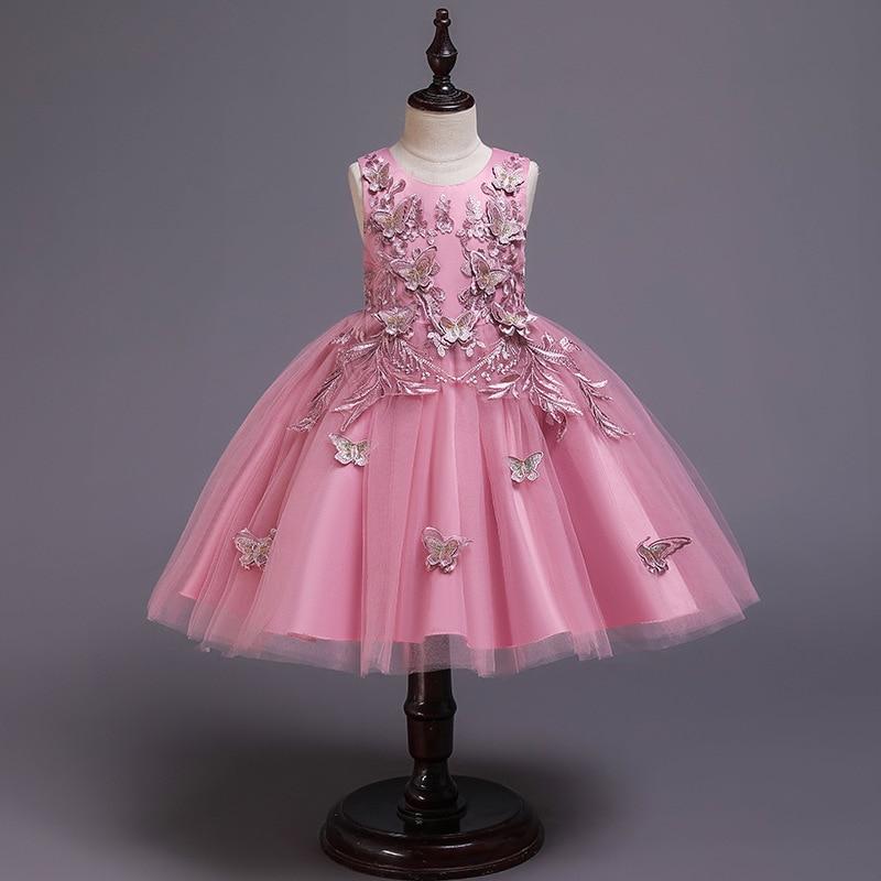 Backlakegirls 2020 novos vestidos da menina de flor para o casamento borboleta princesa tutu rendas appliqued vintage menina primeiro comunhão vestido