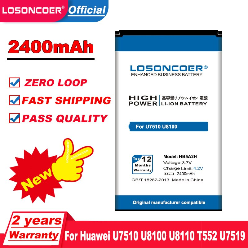 LOSONCOER 2400mAh HB5A2H Battery For Huawei U7510 Battery U8100 U8110 T552 U7519 U7520 +tracking number