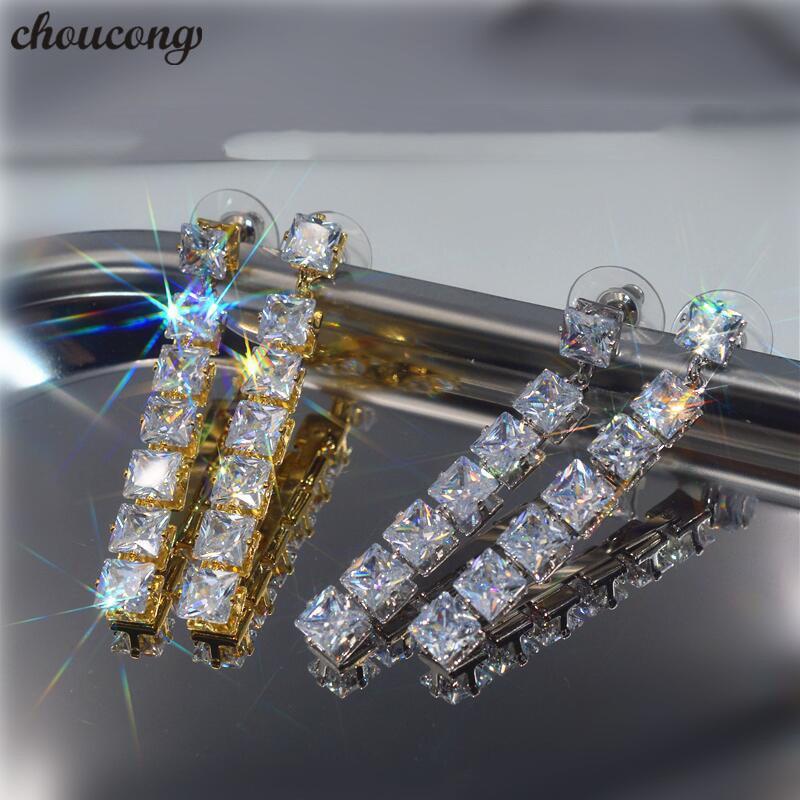 choucong Long Drop earrings Square AAAAA cz Party Wedding Dangle Earrings for women Statement jewelry