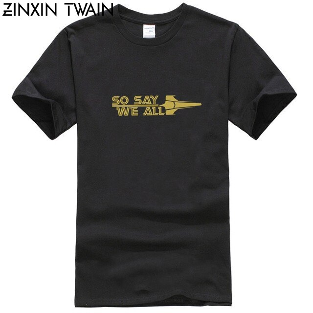Impresionante So Say We All Battlestar Galactica camiseta para hombres camisetas de algodón La camiseta de manga corta para oficina regalo Idea Tops