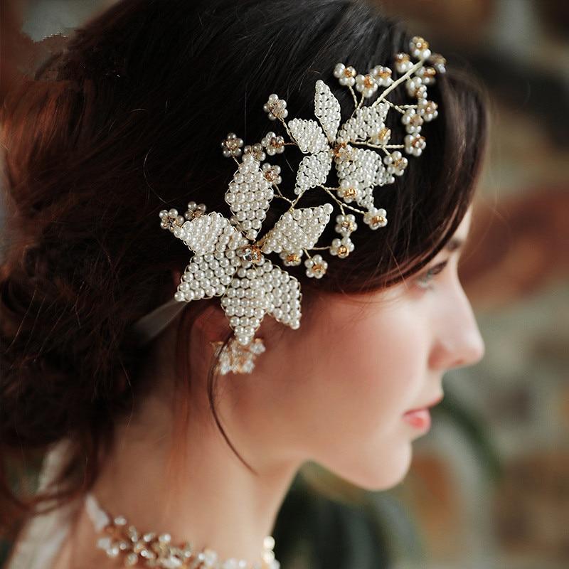 Handmade Pearl Hair Band Wedding Headbands Bridal Pegeant Head Piece For Women Tiaras Hair Jewelry