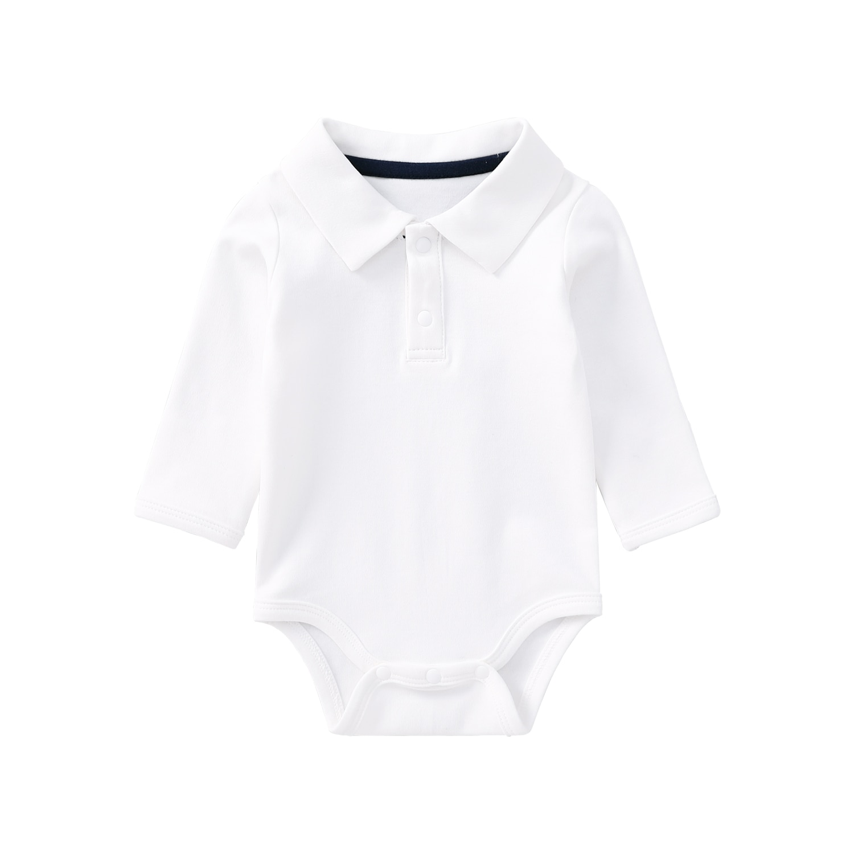 Pureborn Newborn Baby Bodysuit Long Sleeve Organic Cotton Gentleman Polo Collar Baby Boy Onesies Bodysuit
