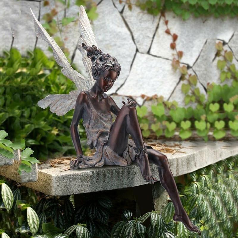 تيودور و Turek يجلس الجنية تمثال حديقة زخرفة الراتنج الحرفية ل نافورة الحديقة بركة المناظر الطبيعية ديكورات للباحة بالجملة