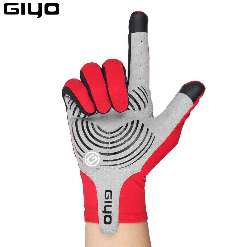 Giyo Wind Breaking Cycling Full Finger Gloves Touch Screen Anti-slip Bicycle Lycra Fabric Mittens Bicicleta Road Bike Long Glove