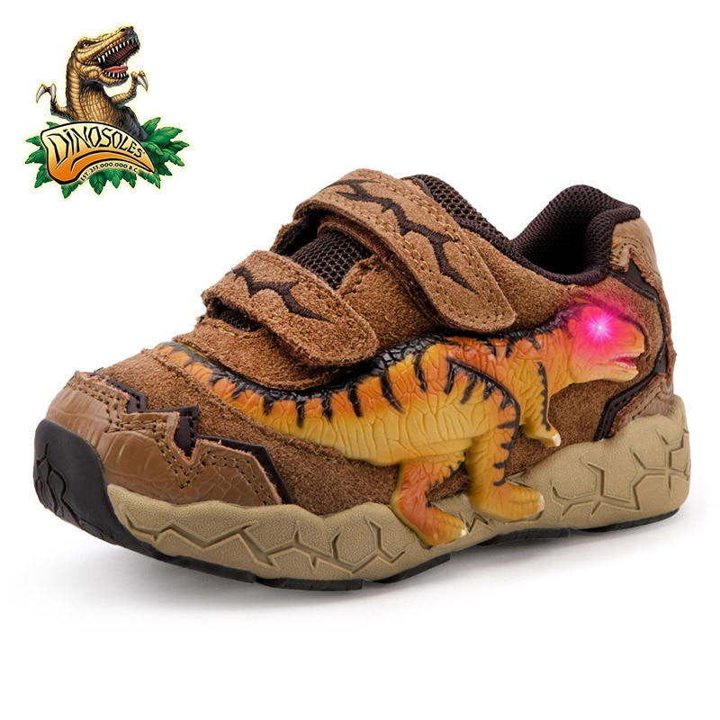 DINOSKULLS 3-9 سنوات الفتيان ديناصور متوهجة أحذية رياضية 2021 الخريف الاطفال LED أحذية رياضية مع جلد خفيف للأطفال T-Rex الأحذية