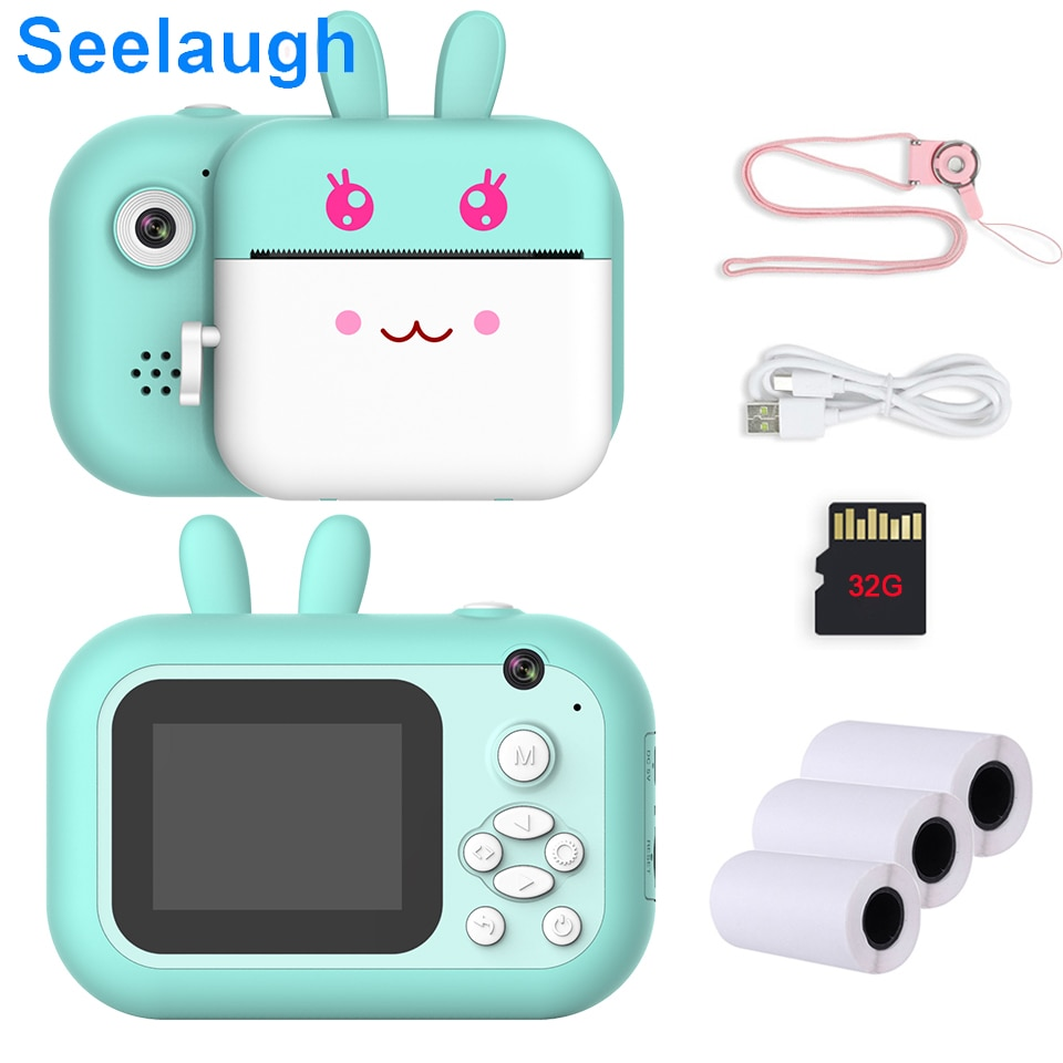 Seelaugh Instant Print Camera Photo Printer For Kids 1080P HD  32GB TF Card Camera Printer With Thermal Photo Paper Camera For G