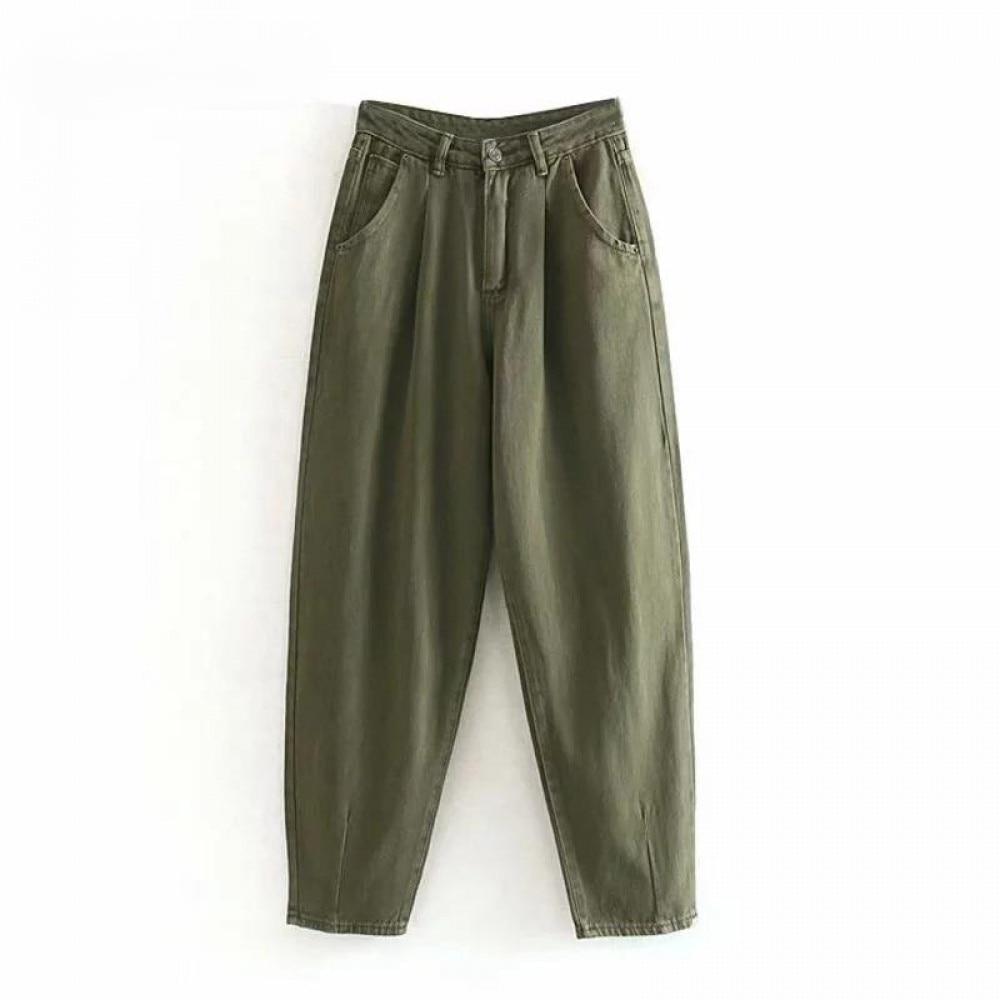 Women Streetwear Pleated Mom Jeans High Waist Loose Slouchy Jeans Pockets Boyfriend Pants Casual Ladies Denim Trousers