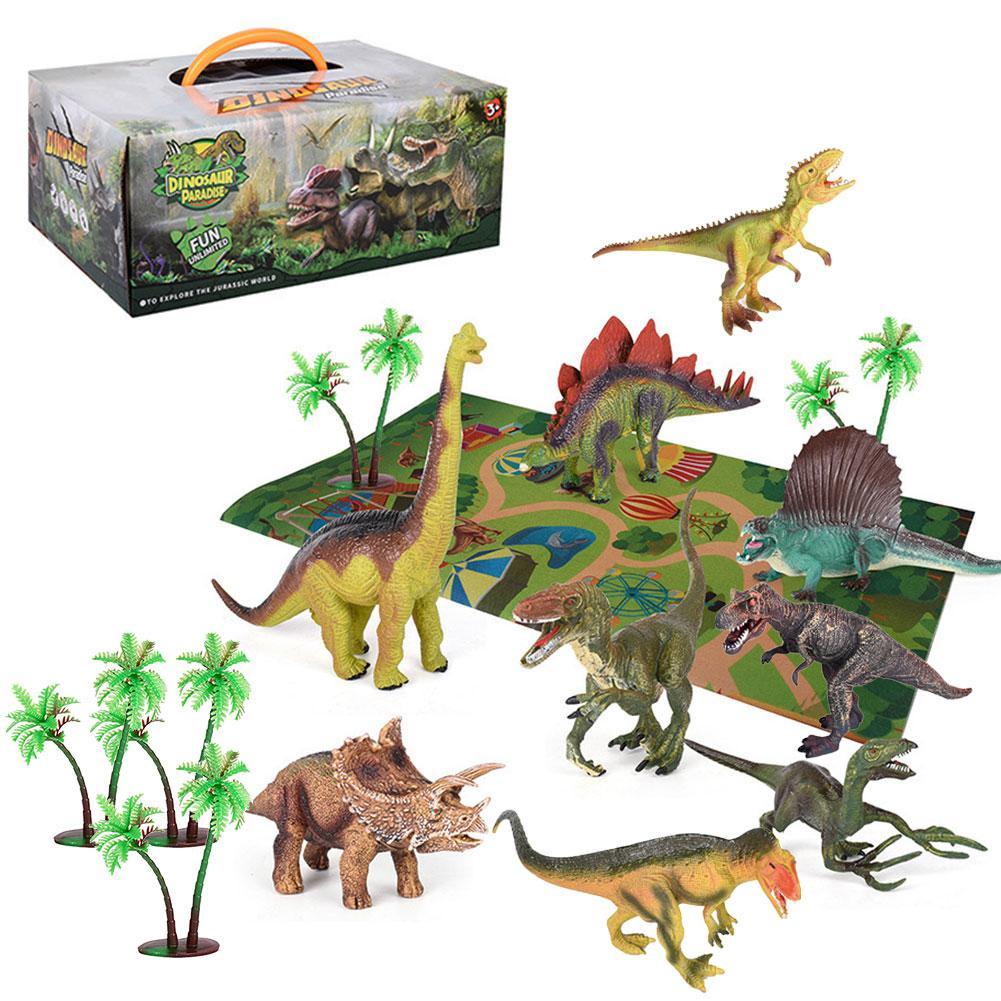 Set de juguetes de dinosaurios, figuras de dinosaurios realistas, juego de actividades, Alfombra de árbol, juguetes educativos para interiores y exteriores, juego para niños pequeños