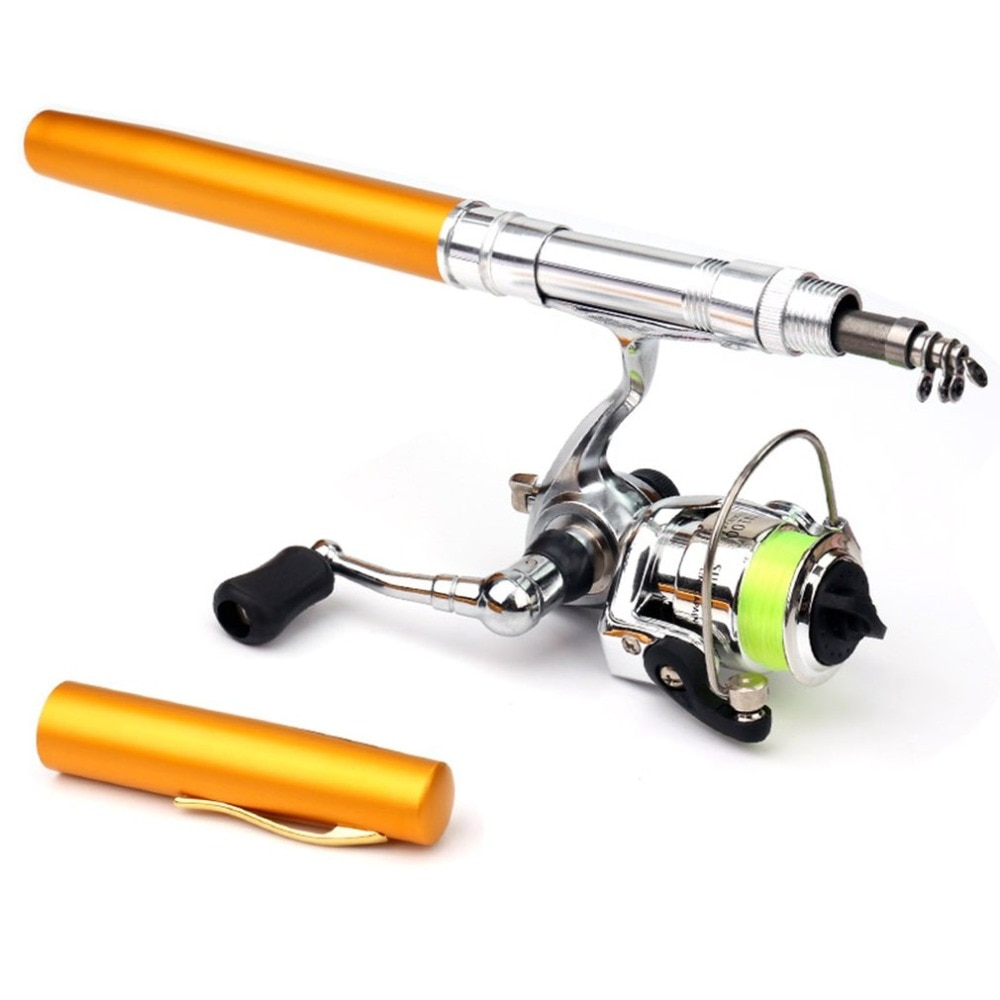 Mini Portable Pen Type Fishing Rod Telescopic Fishing Pole with Metal Fishing Reel Outdoor Fishing Tackle Accessories enlarge