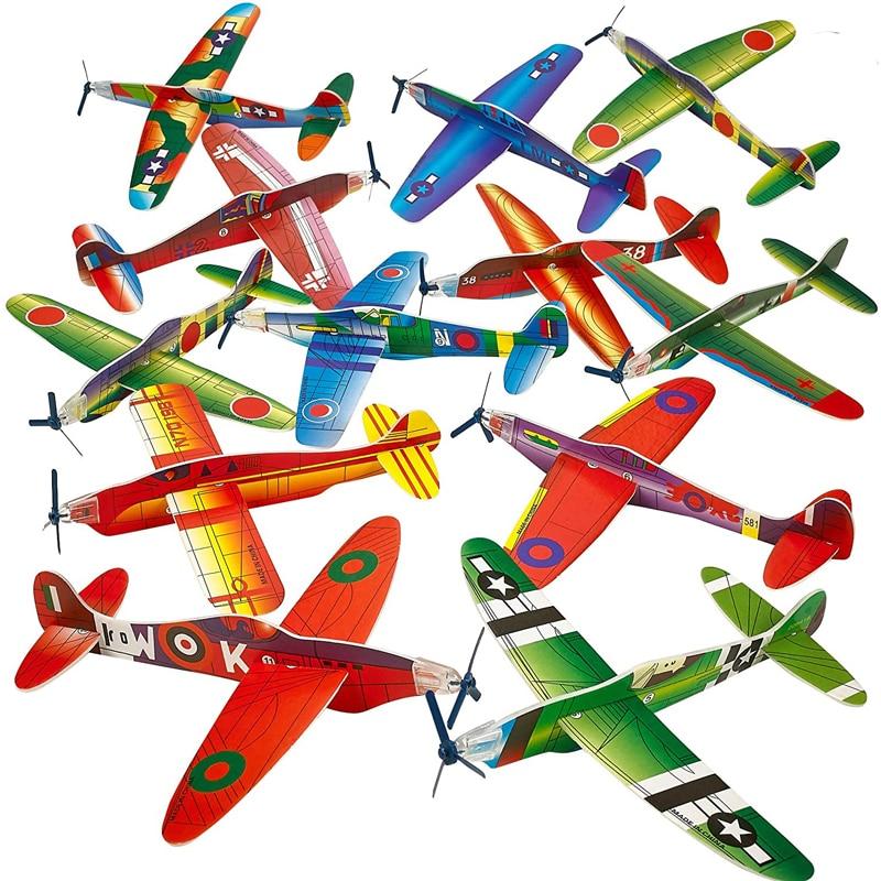 AliExpress - 12Pcs Hand Throw Flying Glider Planes Foam Airplane Toy Avion Polystyrène Outdoor Games For Kids Children Buiten Speelgoed